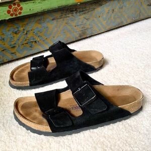 Black Suede Birkenstock Arizona Soft Footbed 38N